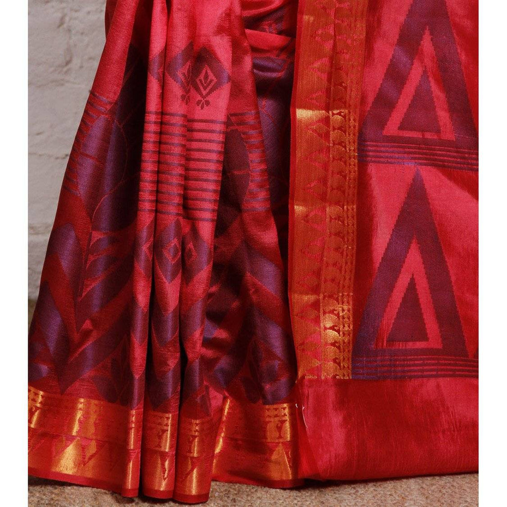 Pink Silk Saree with Zari Work - rangoutlet.com