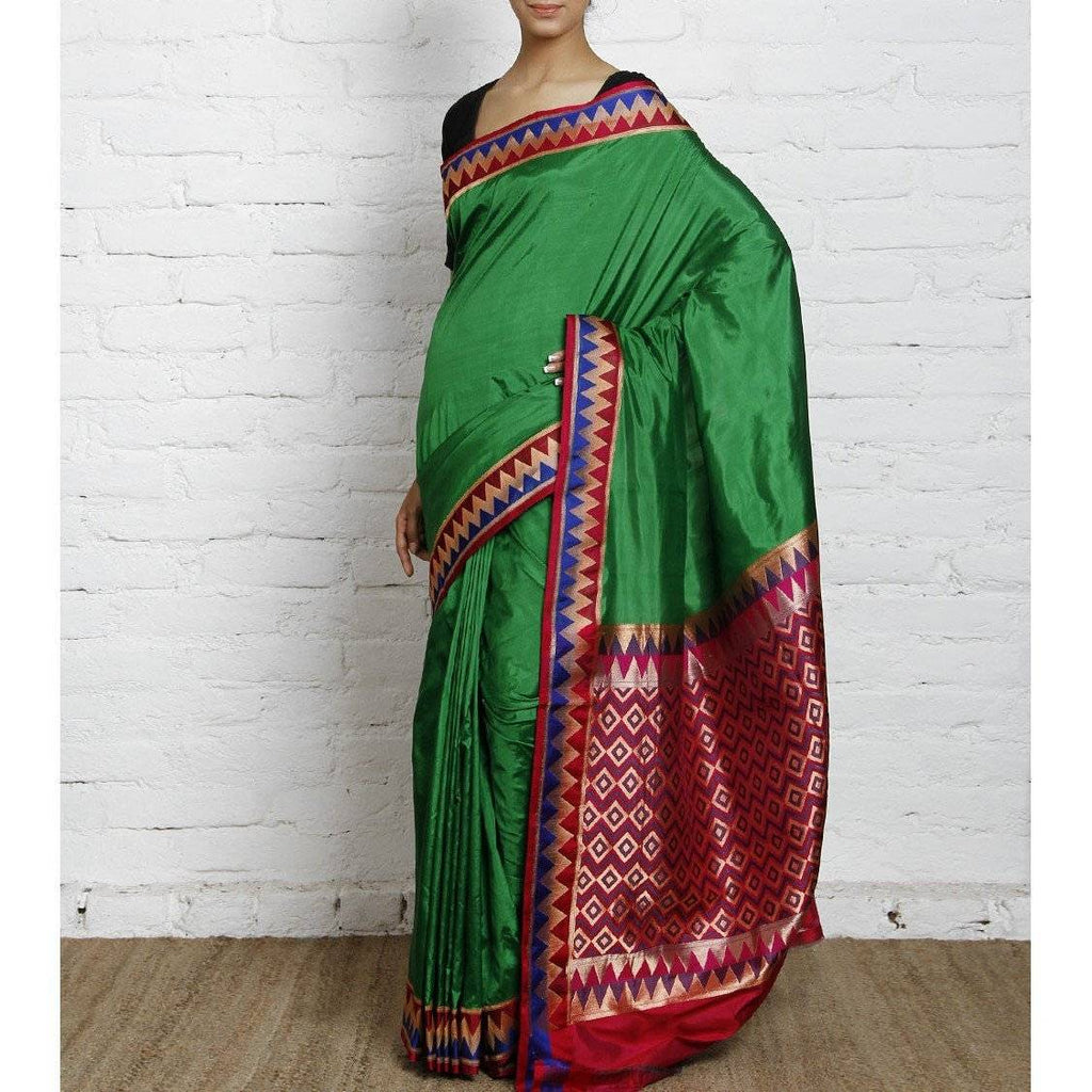 Green Silk Saree with Zari Work - rangoutlet.com