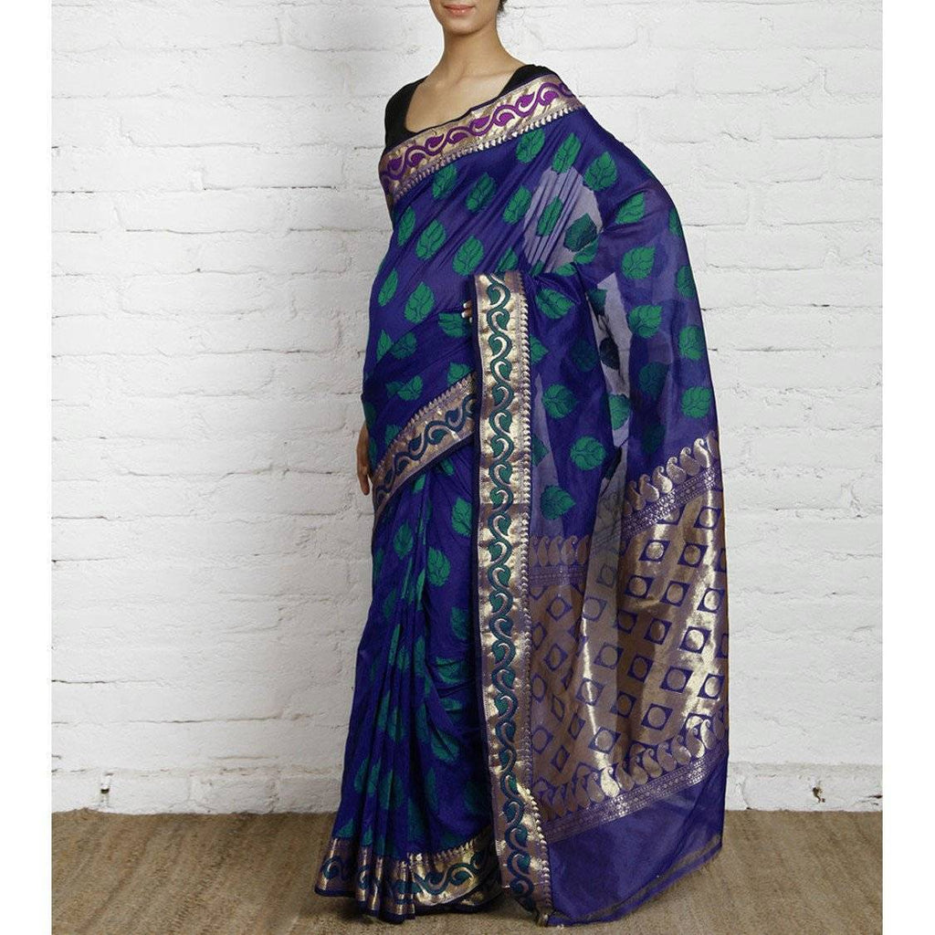 Navy Blue Art Silk Saree with Zari Work - rangoutlet.com