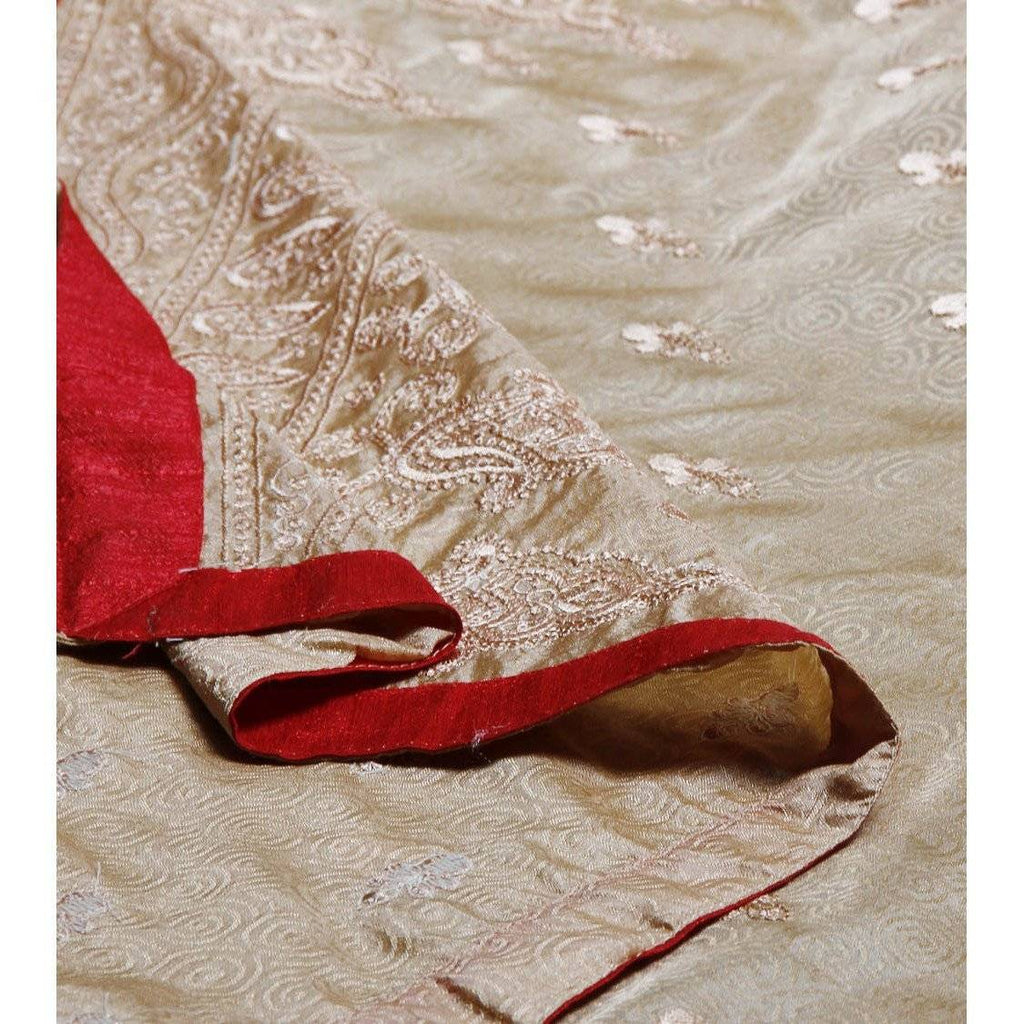 Golden Silk Saree with Embroidery - rangoutlet.com