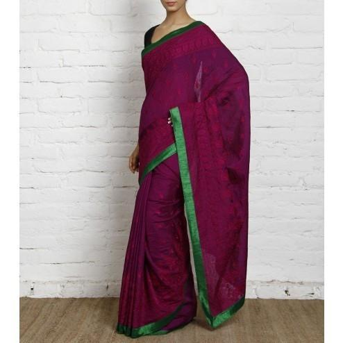 Purple Silk Saree with Embroidery - rangoutlet.com