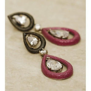 Pink Teardrop Embellished Earrings - rangoutlet.com