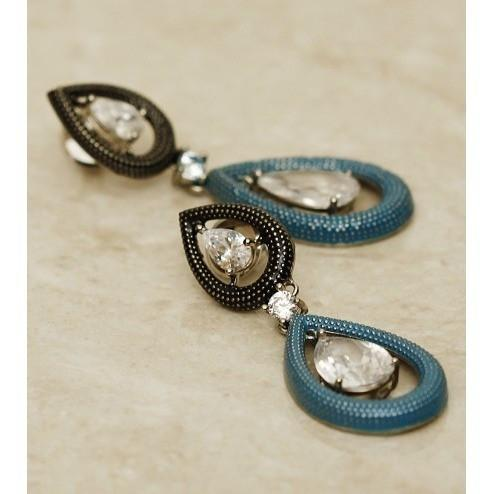 Blue Teardrop Embellished Earrings - rang