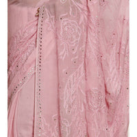 Pink Georgette Saree with Chikankari (100000035317) - rangoutlet.com