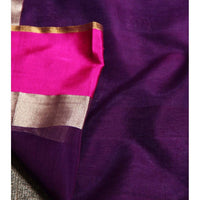 Purple Chanderi Cotton Silk Saree with Zari Work - rangoutlet.com