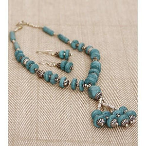 Sea Green German Silver Necklace Set (100000061549) - rangoutlet.com