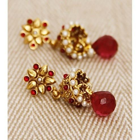 Red Stones Embellished `Earrings - rangoutlet.com