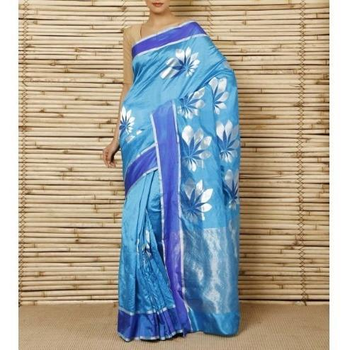 Turquoise Silk Big Flower Booti Chanderi Saree - rangoutlet.com