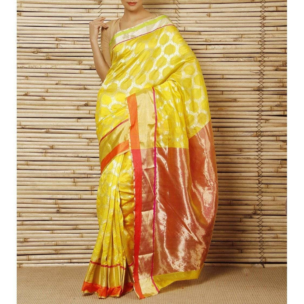 Yellow Silk Zari Jaal Chanderi Saree - rangoutlet.com