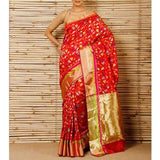 Red Silk Phool Meena Jaal Chanderi Saree