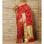 Red Silk Phool Meena Jaal Chanderi Saree - rang