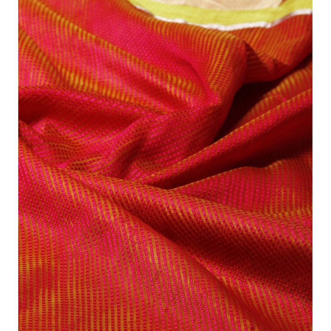 Yellow Silk Phool Meena Jaal Chanderi Saree - rangoutlet.com