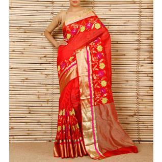 Red Silk Zari Stripes And Border & Skirt Pattern Chanderi Saree - rangoutlet.com
