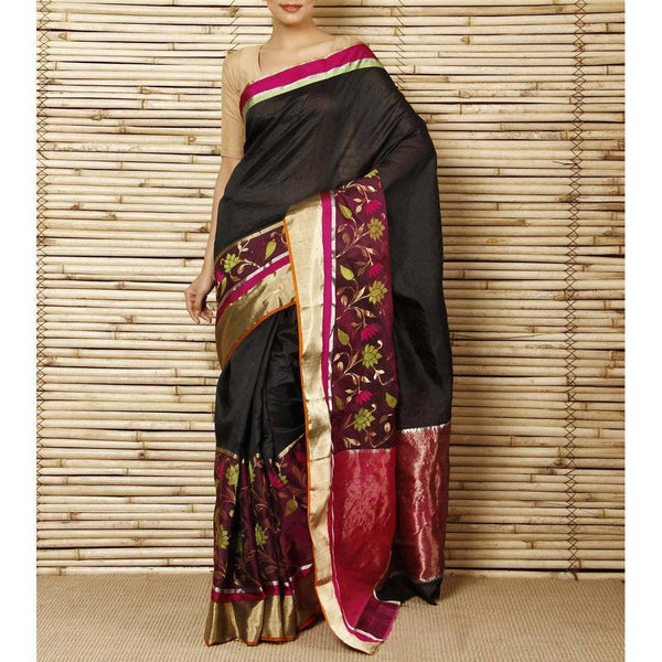 Black Silk Floral Skirt Chanderi Saree - rangoutlet.com