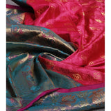 Handwoven Pink and Blue Silk Sarees - rang