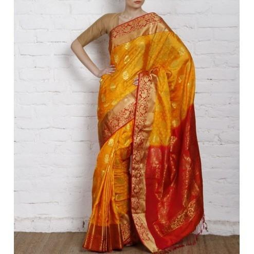 Handwoven Yellow and Orange Silk Saree - rang