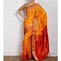 Handwoven Yellow and Orange Silk Saree - rangoutlet.com