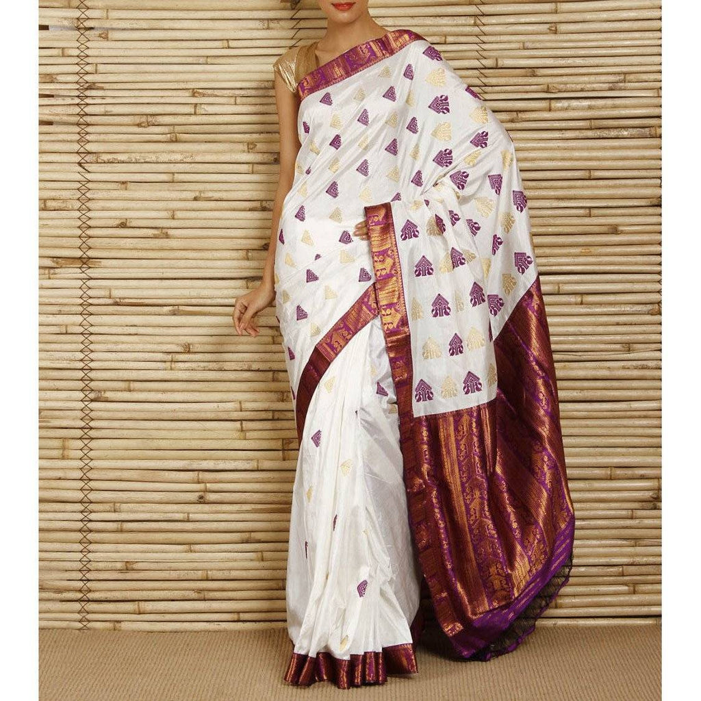 Purple and white Pat Silk saree - rangoutlet.com