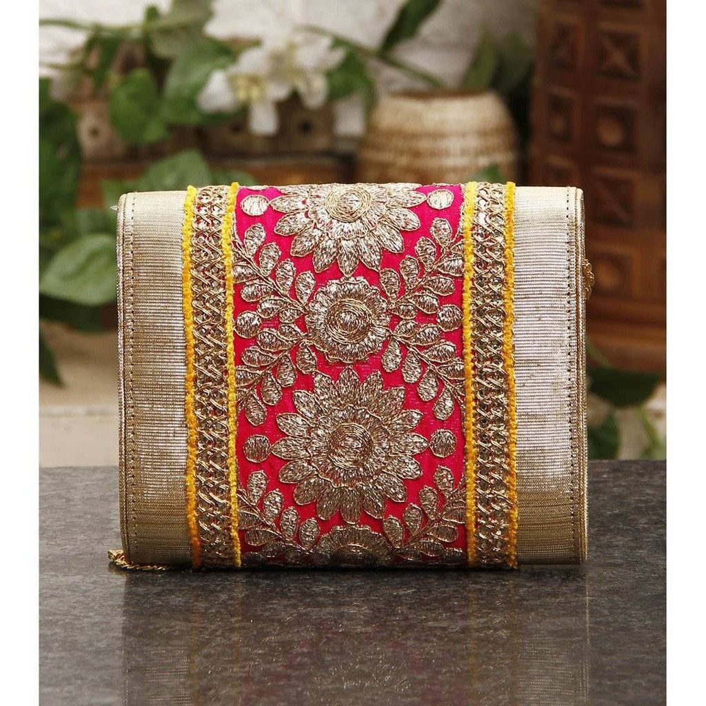 Pink & Yellow Zari & Sequin Clutch - rangoutlet.com