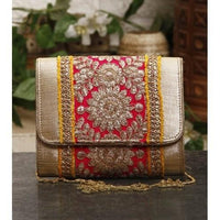 Pink & Yellow Zari & Sequin Clutch - rang