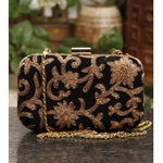 Black Velvet Clutch with Golden Thread Work - rang