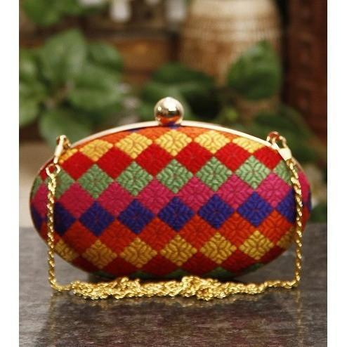Multicoloured Oval Clutch - rangoutlet.com