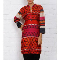 Pink & Orange Silk Printed Tunic - rang
