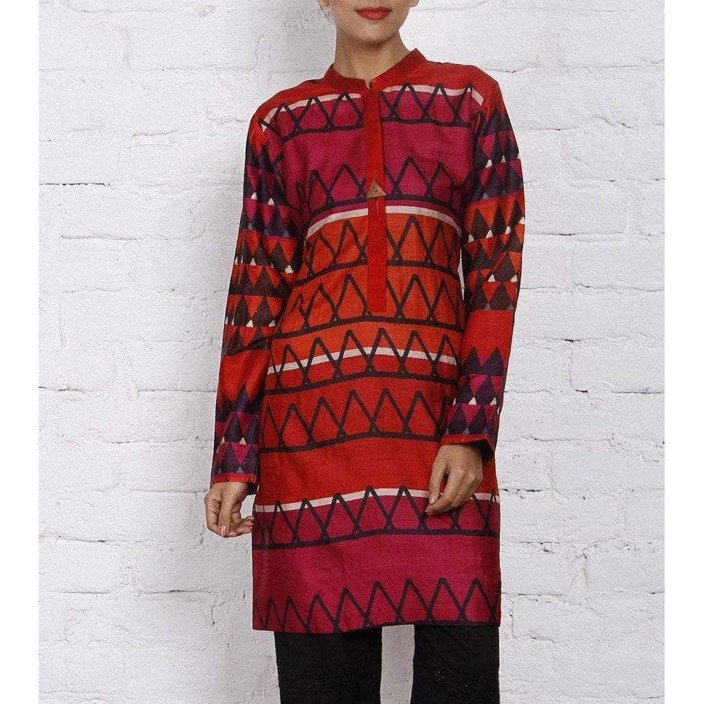 Magenta & Orange Silk Printed Tunic - rangoutlet.com