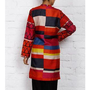 Multicoloured Silk Printed Tunic (100000042455) - rangoutlet.com