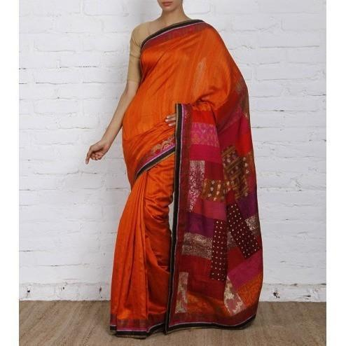 Multicoloured Silk Saree - rangoutlet.com