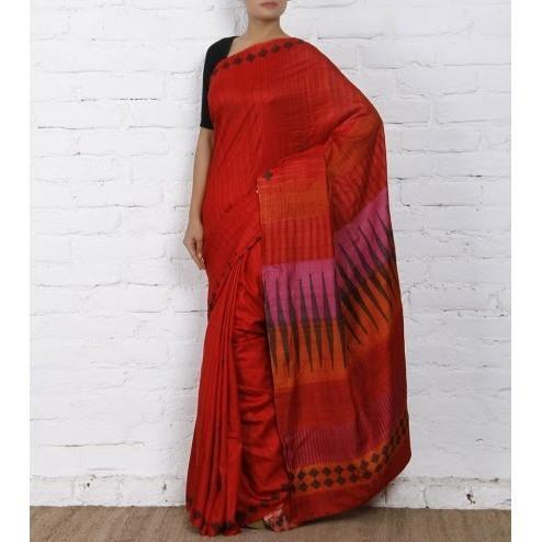 Red & Pink Silk Saree - rangoutlet.com
