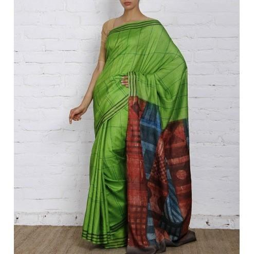 Green & Grey Silk Saree - rangoutlet.com