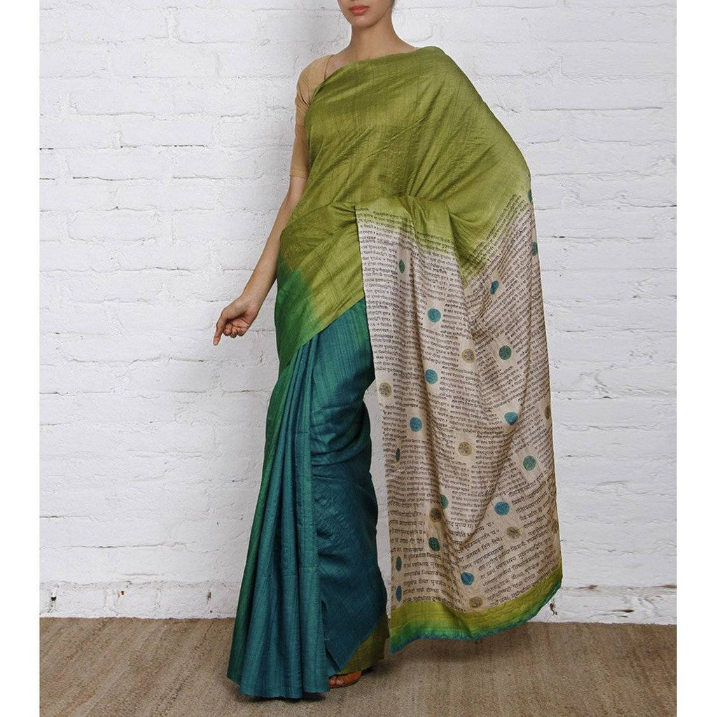 Green & Blue Silk Saree - rangoutlet.com