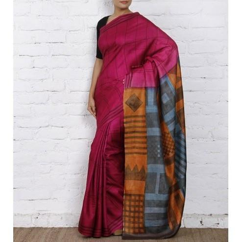 Pink & Orange Silk Saree - rangoutlet.com
