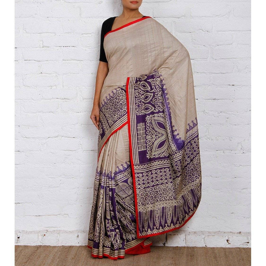Tussar & Purple Silk Saree - rangoutlet.com