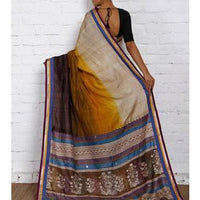 Beige & Dark Brown Silk Saree - rangoutlet.com