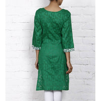 Green Cotton Jacquard - Kurti - rang