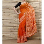 Orange Chiffon Saree With Chikankari - rangoutlet.com