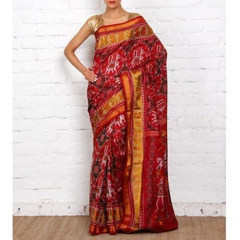 Maroon Handwoven Single Ikat Patola Silk Saree - rangoutlet.com