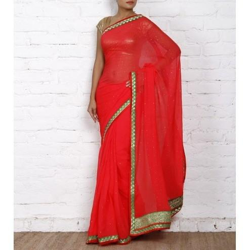 Red Chiffon Saree with Zari Border - rangoutlet.com