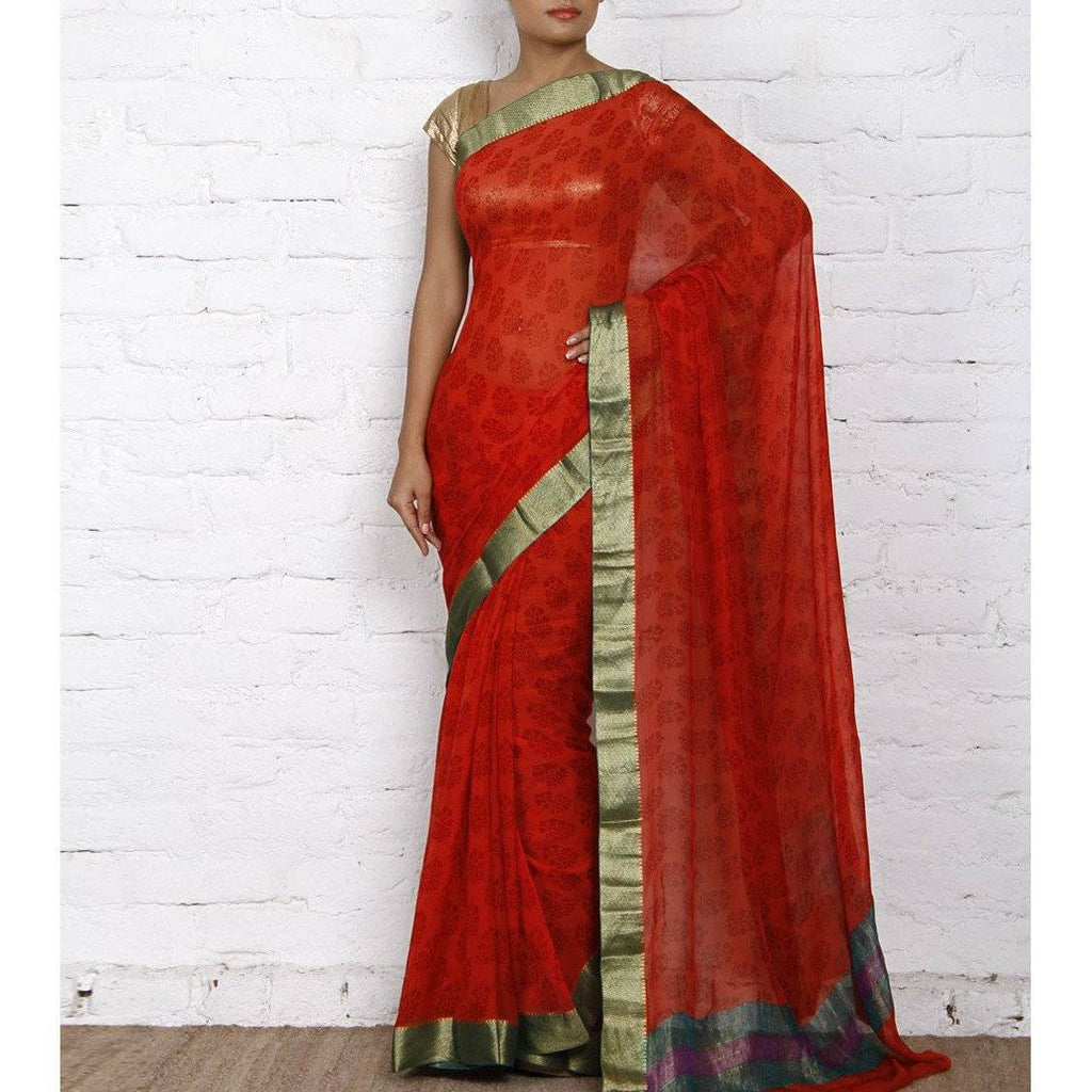Red Block Printed Chiffon Saree - rangoutlet.com