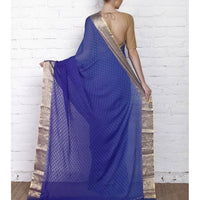 Blue Georgette Saree with Zari Border - rang