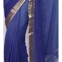 Blue Georgette Saree with Zari Border - rangoutlet.com
