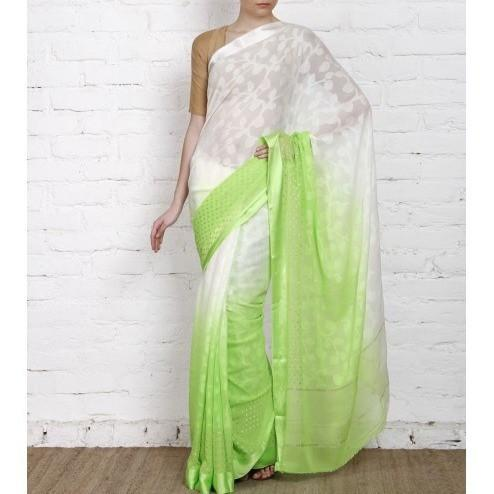 White & Lime Georgette Saree with Zari Border (100000043773) - rangoutlet.com