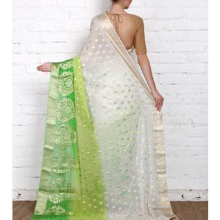 White & Lime Georgette Saree with Zari Border (100000043775) - rangoutlet.com