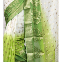 White & Lime Georgette Saree with Zari Border (100000043775)