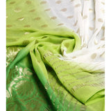 White & Lime Georgette Saree with Zari Border (100000043775) - rang