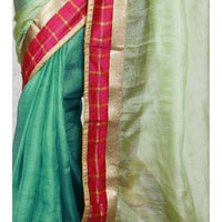 Blue Muga Silk Saree with Banarasi Silk Border - rang
