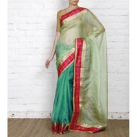 Blue Muga Silk Saree with Banarasi Silk Border - rangoutlet.com