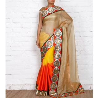 Beige, Orange & Yellow Kota Silk Saree - rangoutlet.com